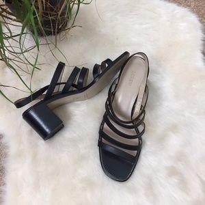 [J Crew] Black Slingback Chunky Heel Sandals